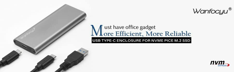 USB Type C M.2 NVMe SSD Enclosure Adapter, USB 3.1 Gen 2 10Gbps Solid State Drive Aluminum External Casing, Unique Cooling Fin Design for Good Heat ...