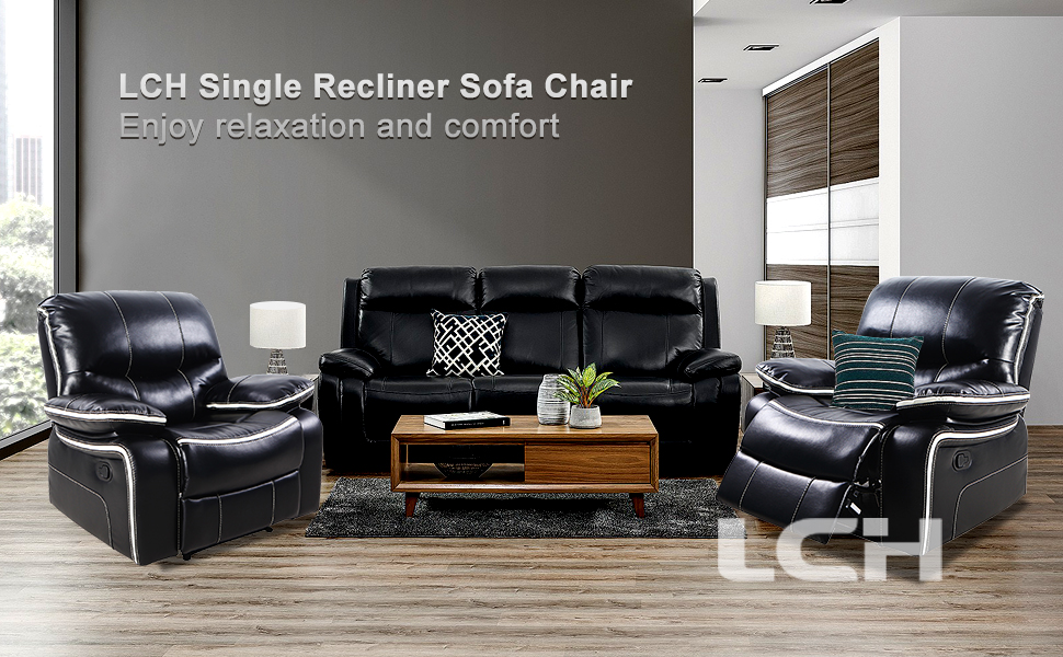 LCH Single Recliner Sofa Chair – Support Back and Waist Design of Reclining Couch Seat Body Relaxing