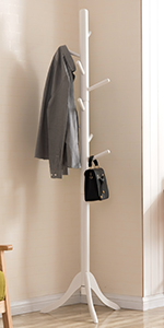 Amazon.com: Vlush Free Standing Rack, 8 Hooks Wooden Hanger ...