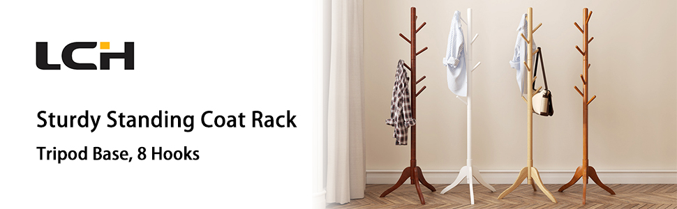 Vlush Free Standing Rack, 8 Hooks Wooden Hanger Holder Enterway Hall Tree with Solid Rubber Wood Base for Coat, Hat, Clothes, Scarves, Handbags, ...