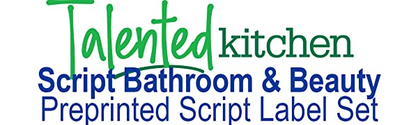 Script bathroom and Beauty Preprinted labels