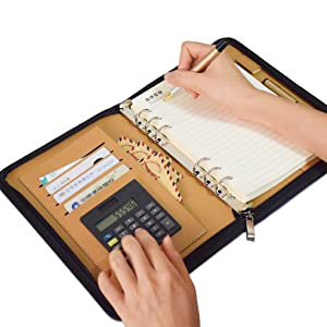 sayeec leather botebook with calculator