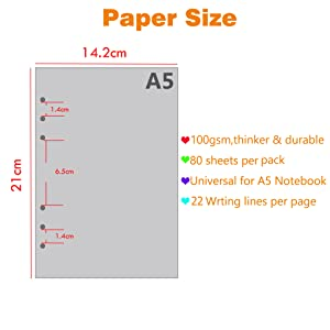 A5 Size refill paper fit for most A5 Ring Binder Notebook