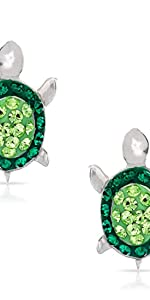 Green Crystal Turtle Earring