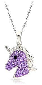 Mythical Purple Crystal Unicorn Pendant