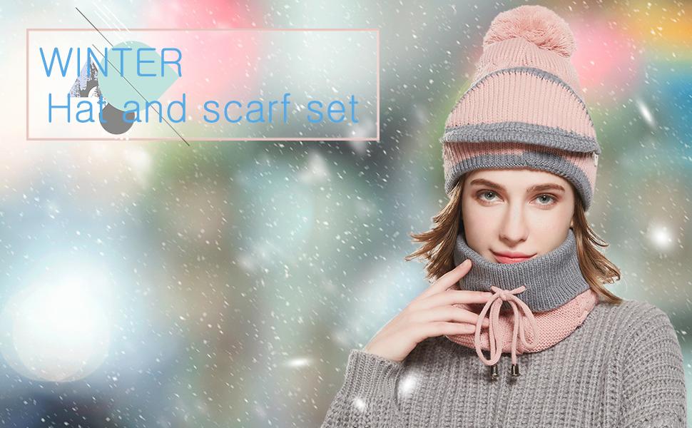 women girls winter wool hat scarf set