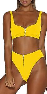 Zipper front Two Piece Swimwear