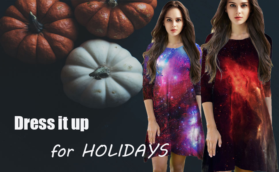 Galaxy print A line Dress for halloween costumes