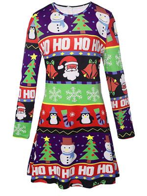 0f9a1de8cc LaSuiveur Women's Christmas Santa Claus Print Pullover Flared A Line ...