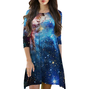 Outer space galaxy print dress