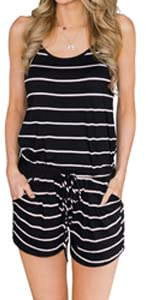 Sleeveless Striped Rompers