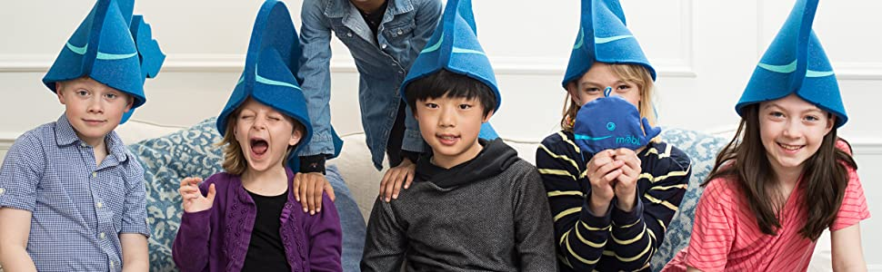 Kids with whale hats on.