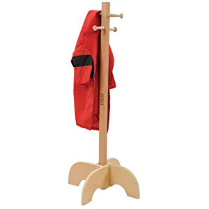 this sturdy wooden clothes tree provides a simple attractive space to hang clothes and costumes