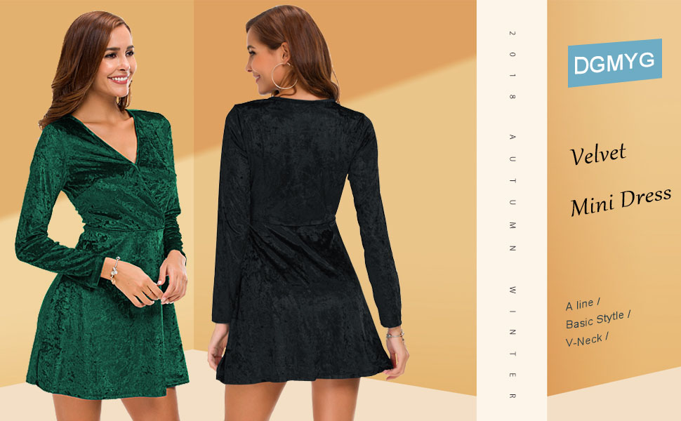 DGMYG Women s Elegant Long Sleeve V-Neck Velvet Flared A line Party ... 3bc3cd342