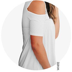 6c1ada3425f363 Aolakeke Cold Shoulder Short Sleeve T Shirts V Neck Tops Casual Criss Cross  Tunic Blouse