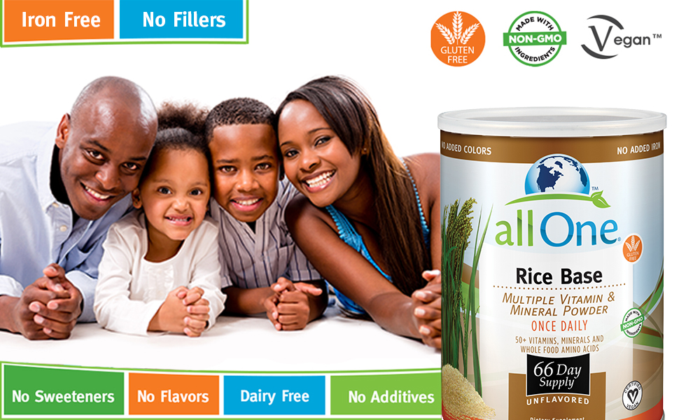 allOne Rice Base Multiple Vitamin & Mineral Powder Once Daily Multivitamin 66 Servings