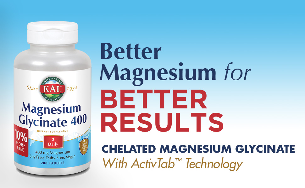 KAL Magnesium Glycinate 400 mg Vegan Chelated Non-GMO Soy Dairy Gluten Free 100 Servings 200 Tablets