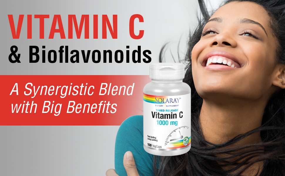 Solaray Vitamin C w/ Rose Hips, Acerola & Bioflavonoids 1000mg Supports Immune Function 100 Ct