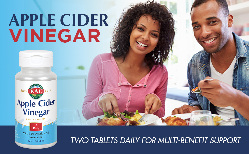 KAL Apple Cider Vinegar 500mg Healthy Weight Management Digestion & Cleansing Support 120 Tablets