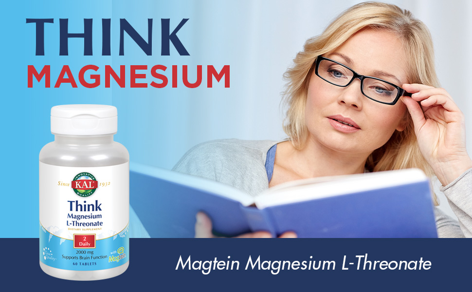KAL Think Magnesium L-Threonate 2000 mg Learning Brain Health Memory Function Magtein 60 Tablets