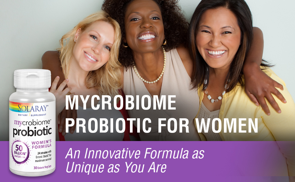 Solaray Mycrobiome Probiotic Women's Formula Digestion, Mood & Urinary Tract Support 30 VegCaps