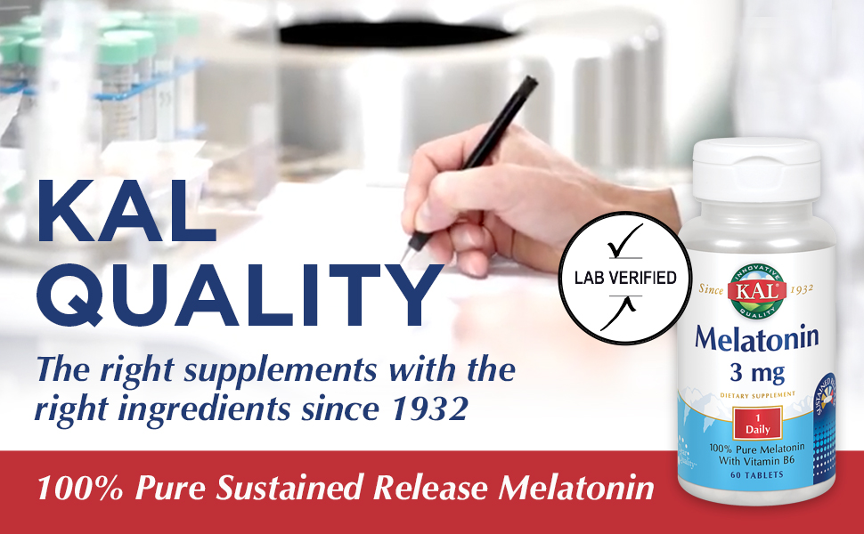 KAL Melatonin Sustained Release 3mg 100% Pure Vitamin B6 & Riboflavin Relaxation Support 60 Tablets