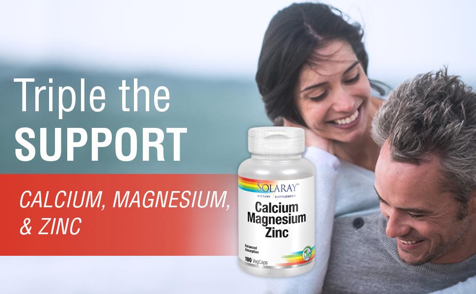 Solaray Calcium Magnesium Zinc Healthy Bones Teeth Nerve Muscle Heart Immune Function Support 100ct