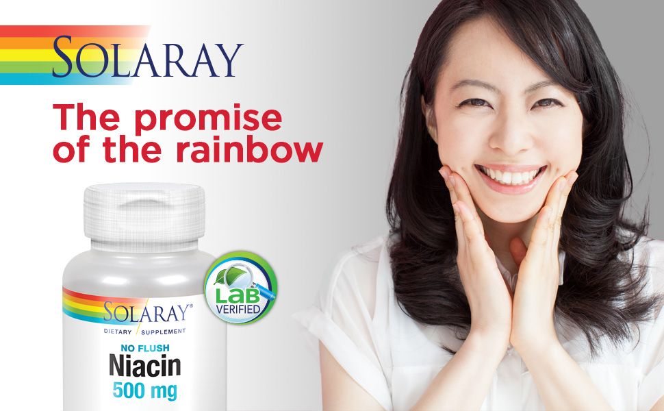 Solaray Niacin No Flush 500mg Vitamin B3 Healthy Skin Circulatory Nervous System Support 100 VegCaps