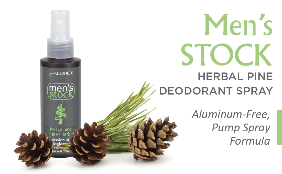 Aubrey Men's Stock Herbal Pine Deodorant Fast Dry Spray Deodorant Non-Irritating Ingredients 4 oz