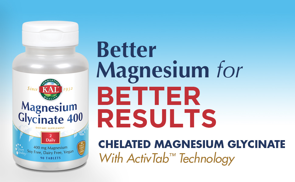 KAL Magnesium Glycinate 400 Vegan, Chelated, Non-GMO, Soy, Dairy, and Gluten Free 45 Servings