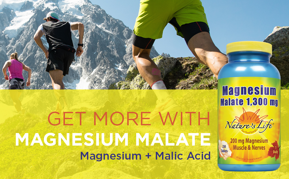 Natures Life Magnesium Malate 1300mg Malic Acid Maximum Absorption Healthy Bones Teeth Nerve 250 Ct