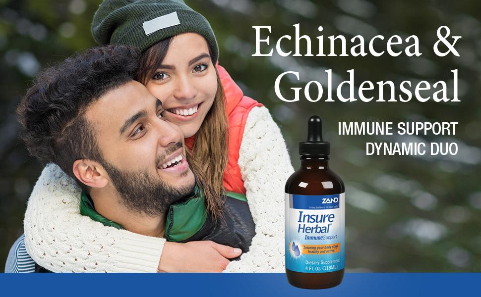Zand Insure Immune Support Herbal Liquid Echinacea Goldenseal Chamomile Ginger Valerian 4 oz