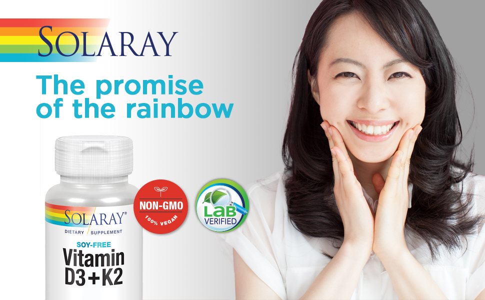 Solaray Vitamin D3 + K2 for Calcium Absorption and Support for Healthy Cardiovascular System 120Ct