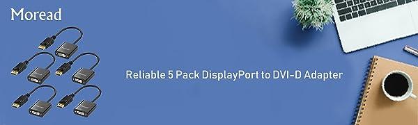 5 Pack DisplayPort to DVI Adapter