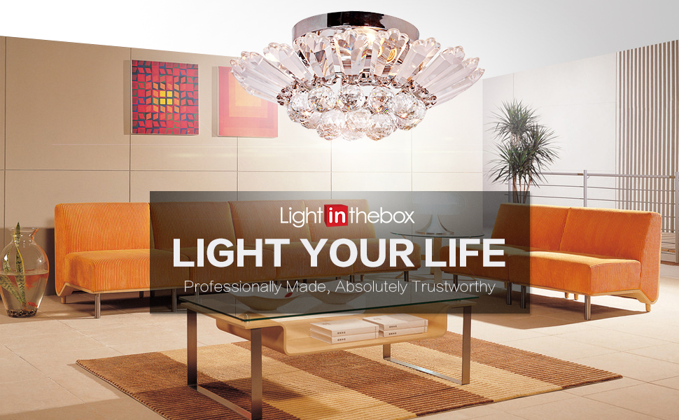 Lightinthebox modern semi flush mount in crystal feature for B q living room lights
