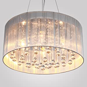 fabulous drum pendant light fixtures living room | LightInTheBox Modern Silver Crystal Pendant Light in ...