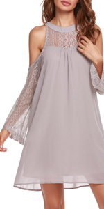 Hollow Shoulder Chiffon Dress