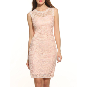 Sleeveless Over Knee Pink Lace Dress