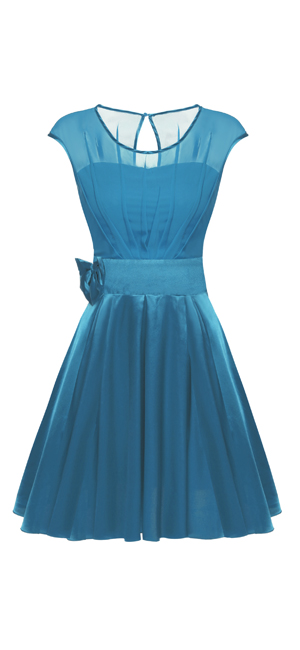Womens O Neck Short Sleeve Tea Length Party Summer Chiffon Homecoming Special Occasion Formal Dress