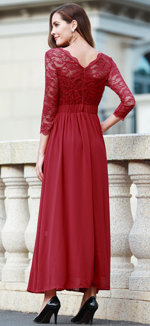 Red Formal Dresses with Sleeves