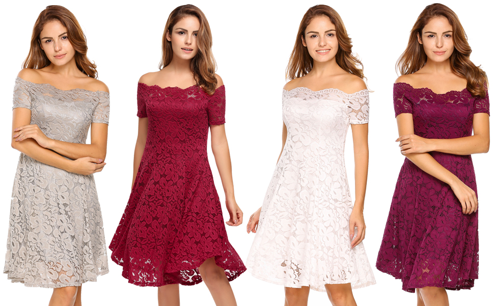 Amazon.com: ACEVOG Women Vintage Lace Short Sleeve Floral Off ...