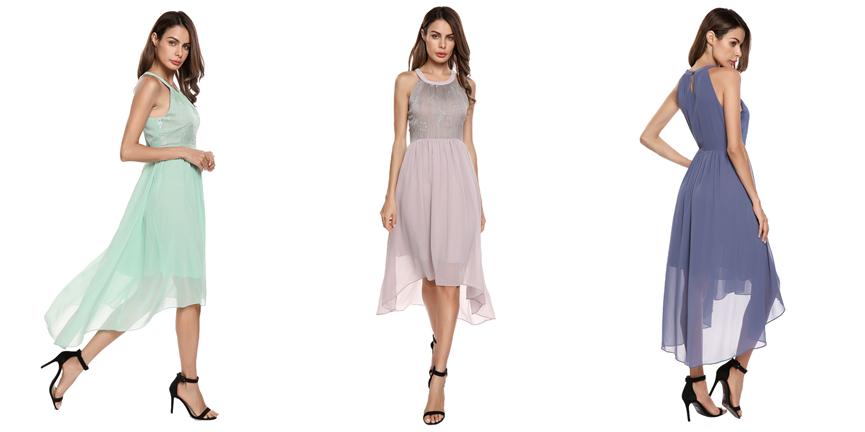 Brand NEW Elegant Dress, Chiffon Dress, Bridesmaid Dress, Embroidered Asymmetrical Dress, Formal Prom Dress, Evening Cocktail dress