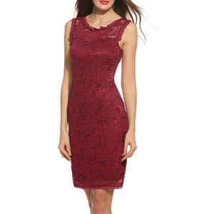 Sleeveless Over Knee Wine Red Lace Dress