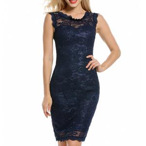 Sleeveless Over Knee Navy Lace Dress