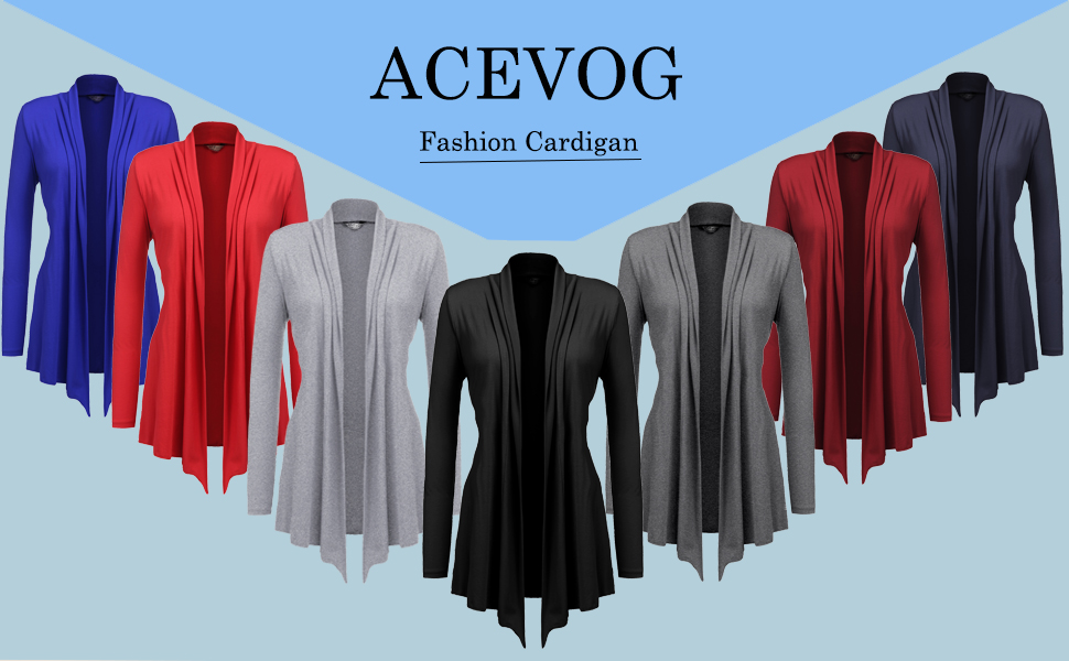 d2c9cc6ef55 ACEVOG Women s Casual Long Sleeve Cardigans Summer Light-Weight Work ...