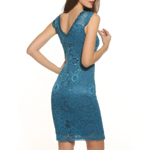 Sleeveless Over Knee Blue Lace Dress