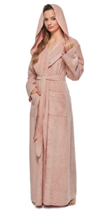 women cotton princess style hooded long bathrobe