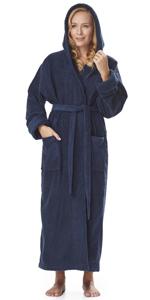 women organic cotton hooded thick bathrobe