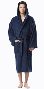 men hooded classic style terry cotton bathrobe
