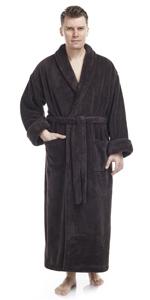 men long shawl collar fleece bathrobe